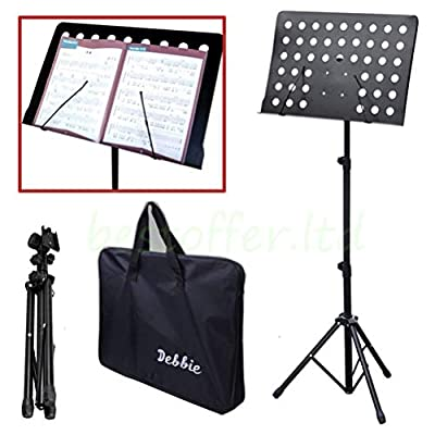 Malayas Heavy Duty Conductor Orchestral Sheet Music Stand Tripod Base Folding Adjustable Height Holder with Bag 50*35CM Plate