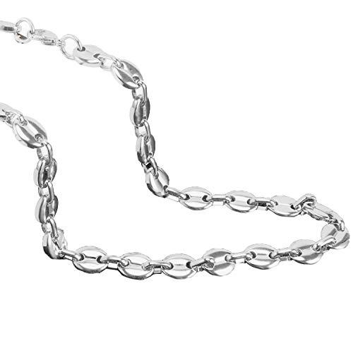 AURSTORE® Chaine pour homme acier inoxydable maille graine de café largeur 56cm (argenté, 9)