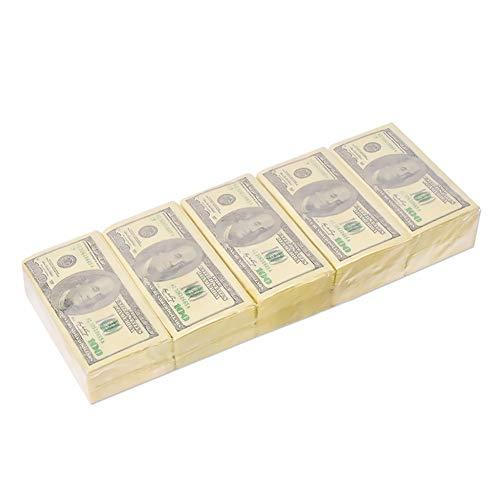 NaiCasy 5pcs US-Dollar Serviette Funny Money Serviette Rohholz Pulpagewebes Papierservietten für Party - 3-dollar-spiele