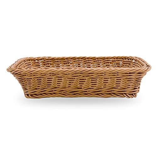 SUNERLORY 1/4/10PCS Cesta de Pan de Mimbre, Rectángulo Bandeja de Mimbre Lavable de imitación, Bandeja de Mesa de Comida bocadillos de Fruta Contenedor Que Sirve para Restaurante/Cocina