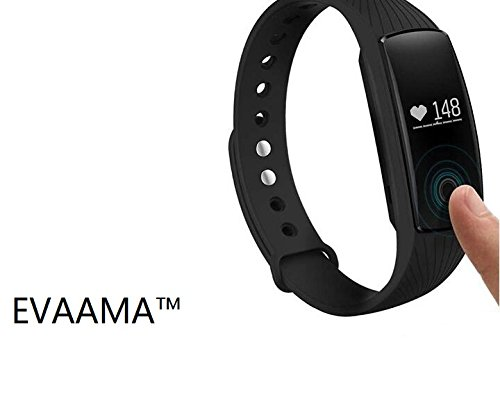 EVAAMA(TM)TW64-SXC SOURCE Heart Rate Monitor Smart Bracelet Waterproof Sports Health Activity Fitness Tracker Bluetooth Wristband Pedometer Sleep Monitor Black OLED Display Bluetooth 4.0 Waterproof Smart Bracelet, Support Pedometer / Sleep Monitoring / Call Reminder / Clock / Remote camera / Anti-lost Function, Compatible with iOS and Android System(Black)