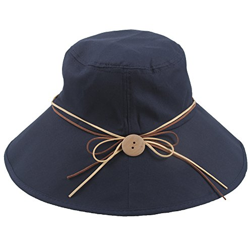 Sidiou Group Cappello Anti UV UPF50+ Pieghevole Cappello da Sole Cappello Secchio Cappello da Pescatore Donna Cotone Cappello Donna Estivo Tesa Larga Cappelli da Spiaggia (Blu Navy)