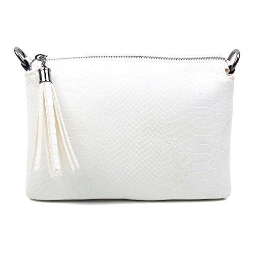 OBC DESIGN ITALIANO Clutch Borsa a tracolla borsa da donna borsetta Crossover Borsa a tracolla portamonete borsa di gioielli - NERO 19x25x8 cm, ca 19x25x8 cm ( BxHxT ) Bianco (22x15 cm)