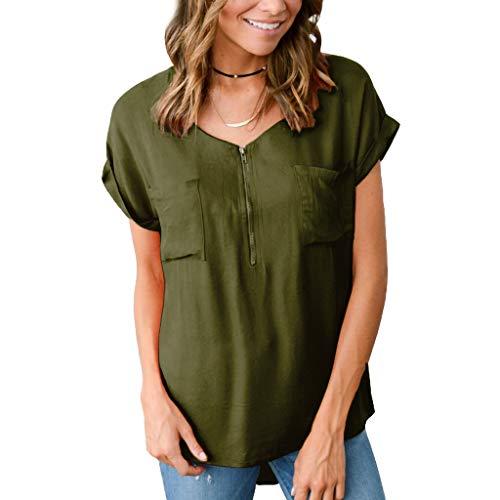 Womens Loose Fitting Zip Up V-Ausschnitt Kurzarm solide Bluse Tops Sommer Mode lässig T Shirt Tunika mit Zwei Taschen
