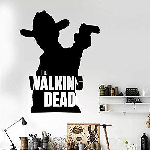 ljmljm Schwarz 58x73cm Gewehr-Cowboy-Film-Charakter-Plakat-Schattenbild geschnitzter entfernbarer Hauptkunst-Wand-Aufkleber -