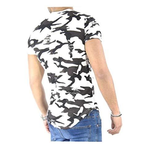 Sommer T-Shirt FORH Oberteile Mode Tarnung Drucken Bluse Rundhals Kurzarm T-Shirt Persönlichkeits Männer Top Outdoor Sweatshirt waschfestes kurzärmeliges (M, Weiß) (Industrie-kurzarm-baumwolle)