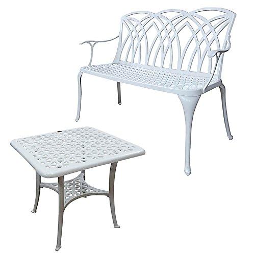 Lazy Susan - SANDRA Quadratischer Kaffeetisch mit 1 APRIL Gartenbank - Gartenmöbel Set aus Metall, Weiß