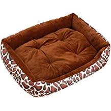 GUOCU Cama Rectangular para Mascotas Diseño de Leopardo Suave Calentar Cómodo Colchoneta para Perro Conjunto de