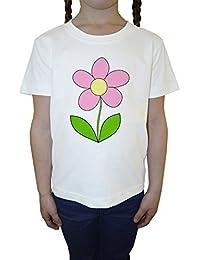 Flor Blanco Algodón Niña Niños Camiseta Manga Corta Cuello Redondo Mangas White Girls Kids T-shirt