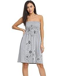 09289b0989 Momo Ayat Fashions Ladies Floral Sheering Panel Print Bandeau Boobtube Top  Strapless Mini Dress UK Size 8