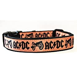 AC/DC For Those About To Rock ACDC Angus Young Collar Perro Hecho a Mano Talla L con Correa a juego de 150 cm Dog Collar HandMade