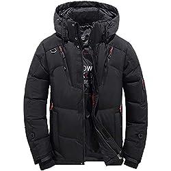 Blouson à Capuche Hommes épais Hiver Randonnée Ski Veste Homme Garçons Doudoune en Coton Manteau Chaud BaZhaHei(Noir,M)
