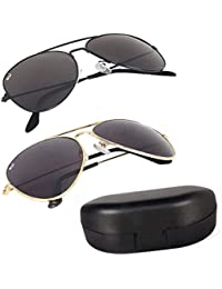 Elligator Combo Of 2 Aviator Unisex Sunglasses - (Avblk-Goldblk-Box-Sg|Black)