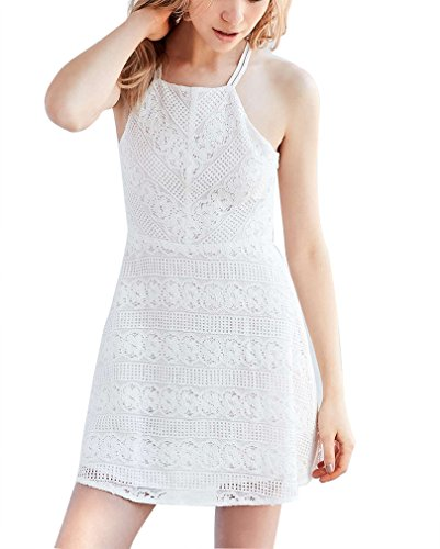 Damen Spitzenkleider Neckholderkleider Trägerkleid Minikleid Ärmellos Normallacks Rückenfrei Figurbetont A-Linie Zum Binden Weiß