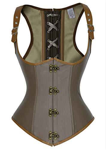Damen Vintage Leder Corsage Taillen Korsett Goth Steampunk Corsagen Vest Braun (EUR(34-36) M, Braun) -