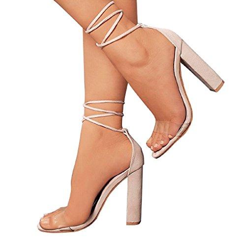 Minetom Sandalen Damen Riemchen Sandaletten High Heels 10 cm Party Blockabsatz Shoes Elegante Abendschuhe Übergröße Mode Schuhe Sommer Nackt EU 43