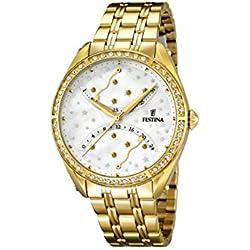 University Sports Press F16743/1 - Reloj de cuarzo para mujer, con correa de acero inoxidable chapado, color dorado