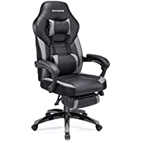 SONGMICS Gaming Chair, Office Racing Chair with Footrest, Ergonomic Design, Adjustable Headrest, Lumbar Support, 150 kg Weight Capacity, Black and Grey OBG77BGUK