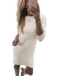 Yidarton Winter Damen Pullover Sweater Strickkleid Warm Elegant Langarm Strickpullover Lang