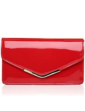 LUCKY Rot Lack Medium Größe Clutch Tasche