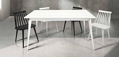 Table en Bois de Sapin brossé Blanc; Dimensions cm. 160X85 avec 1 rallonge cm. 50; avec rallonge cm. 210x85
