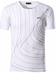 Jeansian Hombres Deportes Wicking Respirable Quick Dry Short Sleeve T-Shirts Tops Corriente Training Tee LSL606
