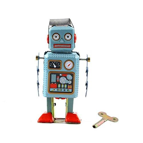 Mengonee Vintage mechanische Uhrwerk Wind Up Metall Walking Roboter Zinn Spielzeug Kinder Geschenk - Zinn Spielzeug Wind-up