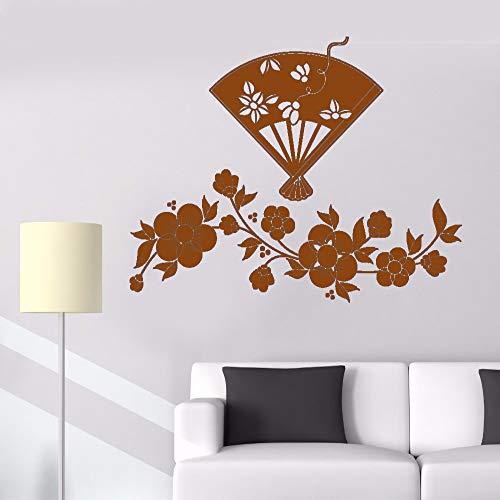 guijiumai Vinile Adesivo Fiori e ventaglio Giapponese Splendida Arte Moderna Camera Rimovibile Adesivi per la Decorazione Domestica F 7 42X56CM