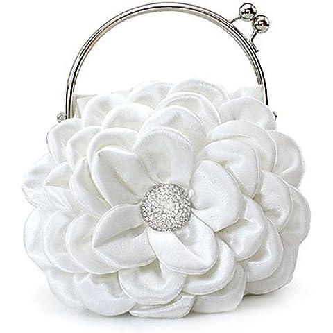 Da Wu Jia señoras bolso de lujo de alta calidad a las mujeres elegantes flores de seda de alta calidad Bolsa de noche de diamantes , rosa