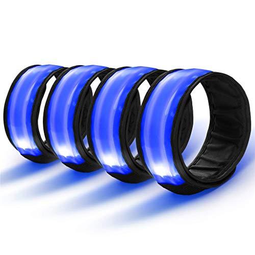 Sicherheit Reflektor Armband mit Drei Beleuchtungs modi LED Slap Armband/Leuchtband/Reflektorband für Laufen Joggen Radfahren Hundewandern Running und andere Outdoor Sports (Blau) ()