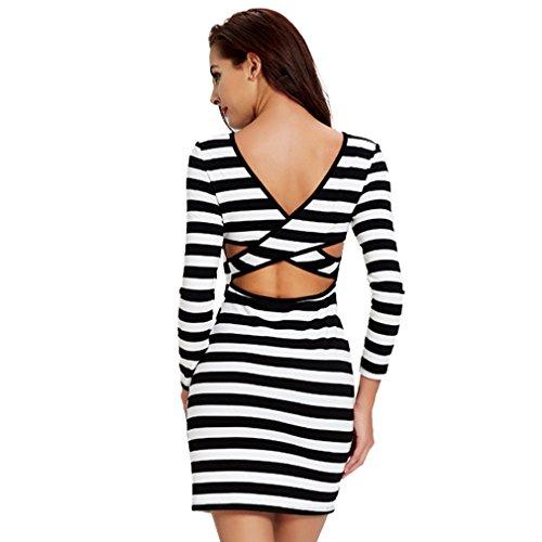 Fur Story 17B167 Femme Casual Sexy Mini Contraste Couleur Robe Noir et blanc