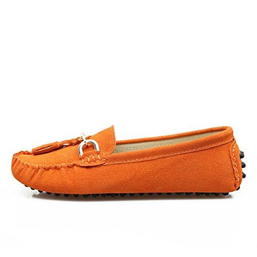 Minitoo femmes-dérapant sur le confort Pompon Loafers chaussures en daim plates de conduite Orange - Orange