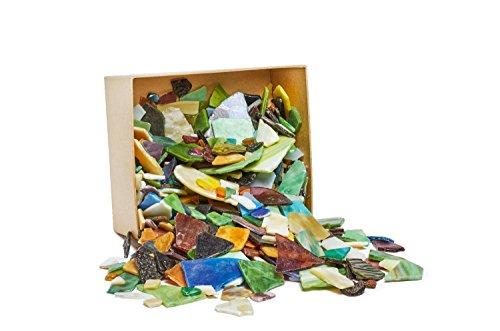 VBS Großhandelspackung 2kg Bruchmosaik-Glas Größen- und Farbenmix Bruchstücke Mosaik Steine Fliesenbruch Bastelmosaik bunt gemischt Glasscherben Tiffanyglas
