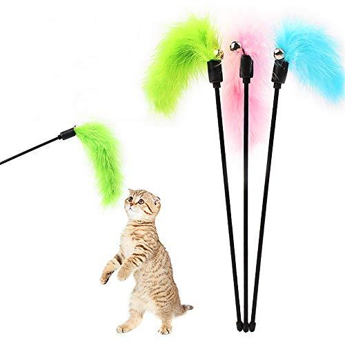 Jiadi Interaktiver Katzenspielzeug-Stick, Premium Pet Tease Zauberstab-Spielzeug mit bunten Truthahnfedern (zufällige Farbe)