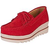 LILICAT☃ Negro, Rojo, Azul, Rosado, Beige 35-42 Mujer Calzado Deportivo Informal Transpirable Zapatillas Planas con Borla Zapatos de Plataforma con Borla de cuña con Suela Gruesa