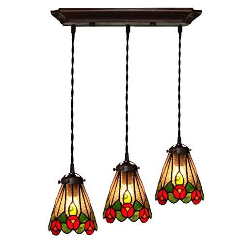 BAIF Tiffany Stil Kronleuchter Farbe Glas Zylinder 5-Licht Deckenpendelleuchte Kit Kreative Bar Kaffee Restaurant Deckenleuchten 110-240 V / E27 * 1 (Farbe: A) -