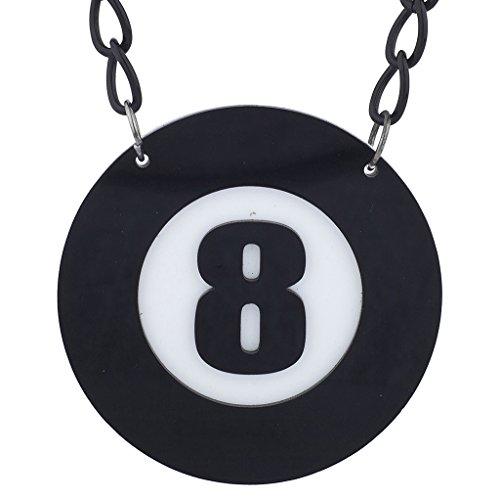 LUX Zubehör Schwarz Weiß Acht 8Ball Pool Halloween groß Anhänger Halskette