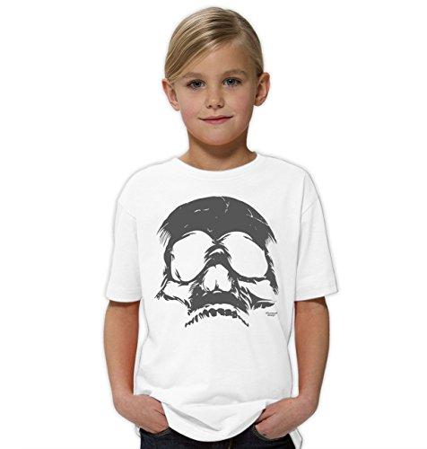 Halloween-Kostüm-Kinder-Jugend-Fun-T-Shirt Gruselig witziges Shirt für Kids Mädchen Girlie Skull Geister Gespenster Kürbis Outfit Geschenk Idee Farbe: Weiss Gr: 152/164