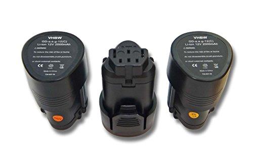 Galleria fotografica 3x Batteria vhbw Li-Ion 2000mAh (12V) per utensili AEG BLL12C, BS12C, BS12C2, BSS12C, BWS12, BWS12CBWS come 3520, 3526, 4932, 584932, 954932, L1215.
