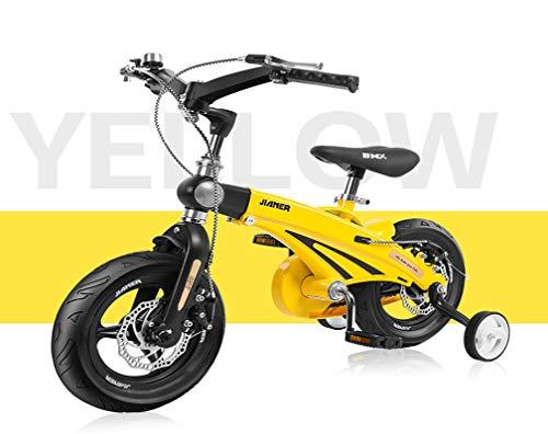 HFYAK 14 Pulgadas Bicicletas Infantiles con Estabilizadores Pedales Ruedas De Entrenamiento Asa Plegable...