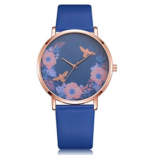 Dilwe Überwachung der Braut für Frauen, Uhr analog der Exposition des Bewegung des Quarz der Gurt des Armband des Typ Zifferblatt des Blume 6Farben, blau -