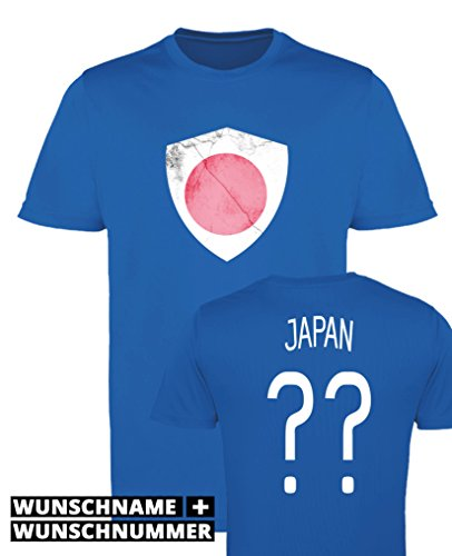 Comedy Shirts - Japan Trikot - Wappen: Groß - Wunsch - Mädchen Trikot - Royalblau/Weiss Gr. 152-164