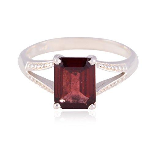 natürlicher Edelstein Octagon facettierten Granat Ring - 925 Sterling Silber rot Granat natürlichen Edelstein Ring - Baby Schmuck meisten Artikel Geschenk für st. Patricks Day Ammering Ring