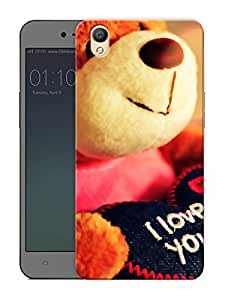 """Humor Gang i love you teddy Printed Designer Mobile Back Cover For """"Oppo A37"""" (3D, Matte Finish, Premium Quality, Protective Snap On Slim Hard Phone Case, Multi Color)"""