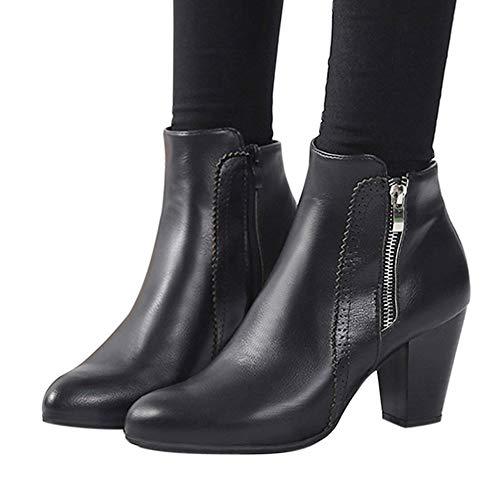 TianWlio Damen Stiefel Stiefeletten Frauen Vintage Chunky Hoher Absatz Starke Ferse Kurze Stiefel Knöchel Stiefel Reißverschluss Schuhe