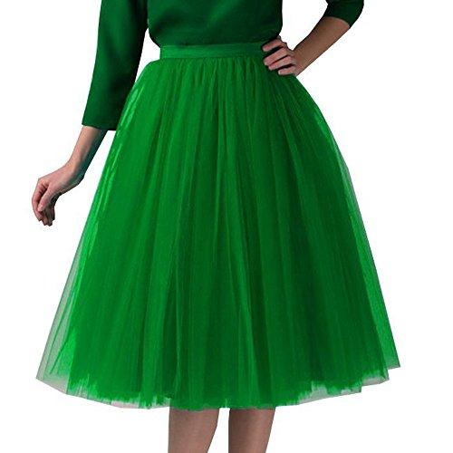 Xmiral Damen Tüll Tutu Rock Plissee Gaze Reine Farbe Knielanges Elastisch Ballett Tanzenrock(Grün)