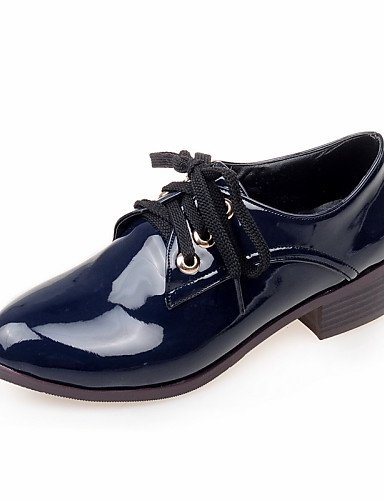 ZQ hug Scarpe Donna - Stringate - Formale / Casual - Comoda / Punta arrotondata - Quadrato - Vernice - Nero / Blu / Borgogna , blue-us10.5 / eu42 / uk8.5 / cn43 , blue-us10.5 / eu42 / uk8.5 / cn43 black-us7.5 / eu38 / uk5.5 / cn38