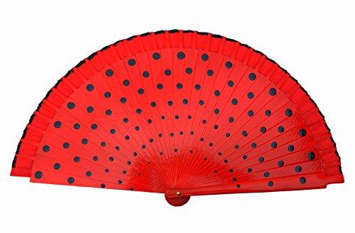 La Señorita Abanico Flamenco madera con puntos colores diferentes vestido Español (rojo negro)