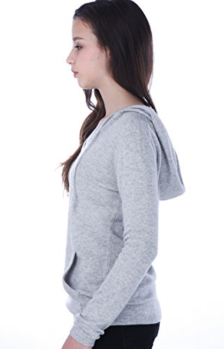 100% Kaschmir V-Ausschnitt Kordelzug Hoodie Pullover für Frauen - von CASHMERE 4 U (Large, Argent (Garu)) - 4