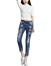 SaiDeng Mujer Casual Bordado Parche Slim Fit Denim Pantalones Jeans